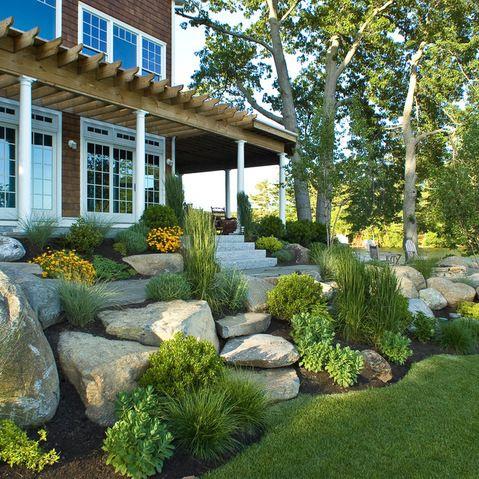 Pin By Rindy Mae On Yards Farmhouse Landscaping House Landscape Outdoor Landscaping