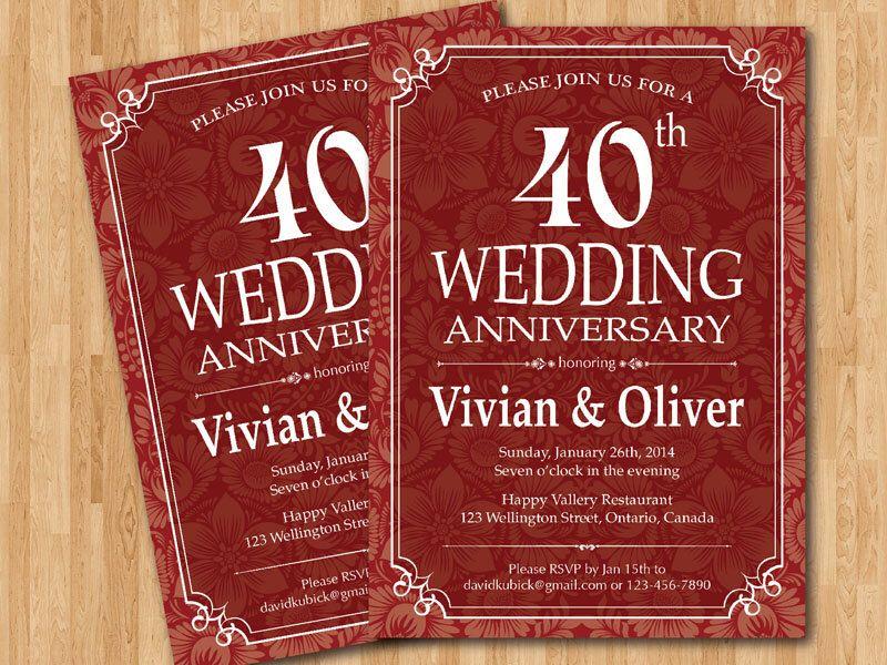 40th Wedding Anniversary Invitation Ruby Red. Wedding Anniversary ...