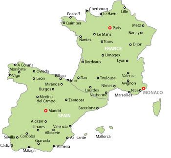 Map Of France And Spain map of france and spain Map Of Spain And France With Cities | Map