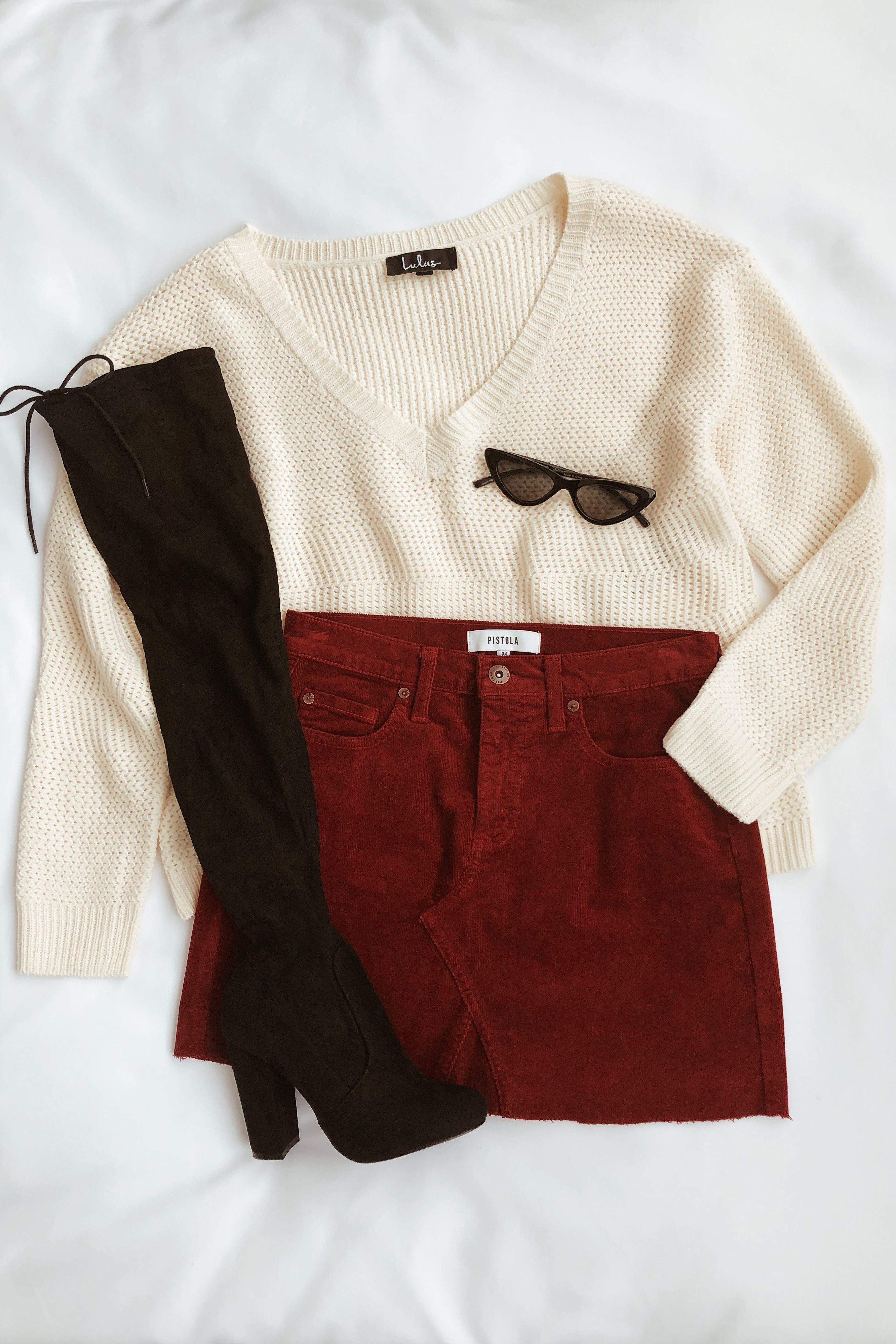 Ryder Wine Red Corduroy Mini Skirt Clothes Fashion Cute Outfits
