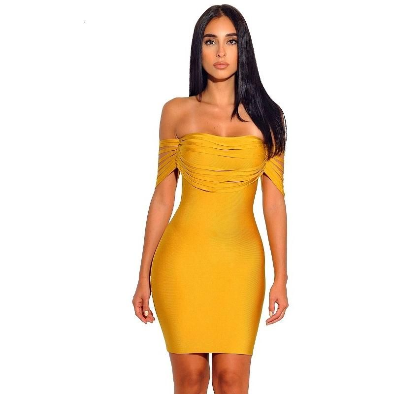6aa68476fa8e Sexy Bandage Yellow Off the Shoulder Bodycon Dress | pretty dresses ...