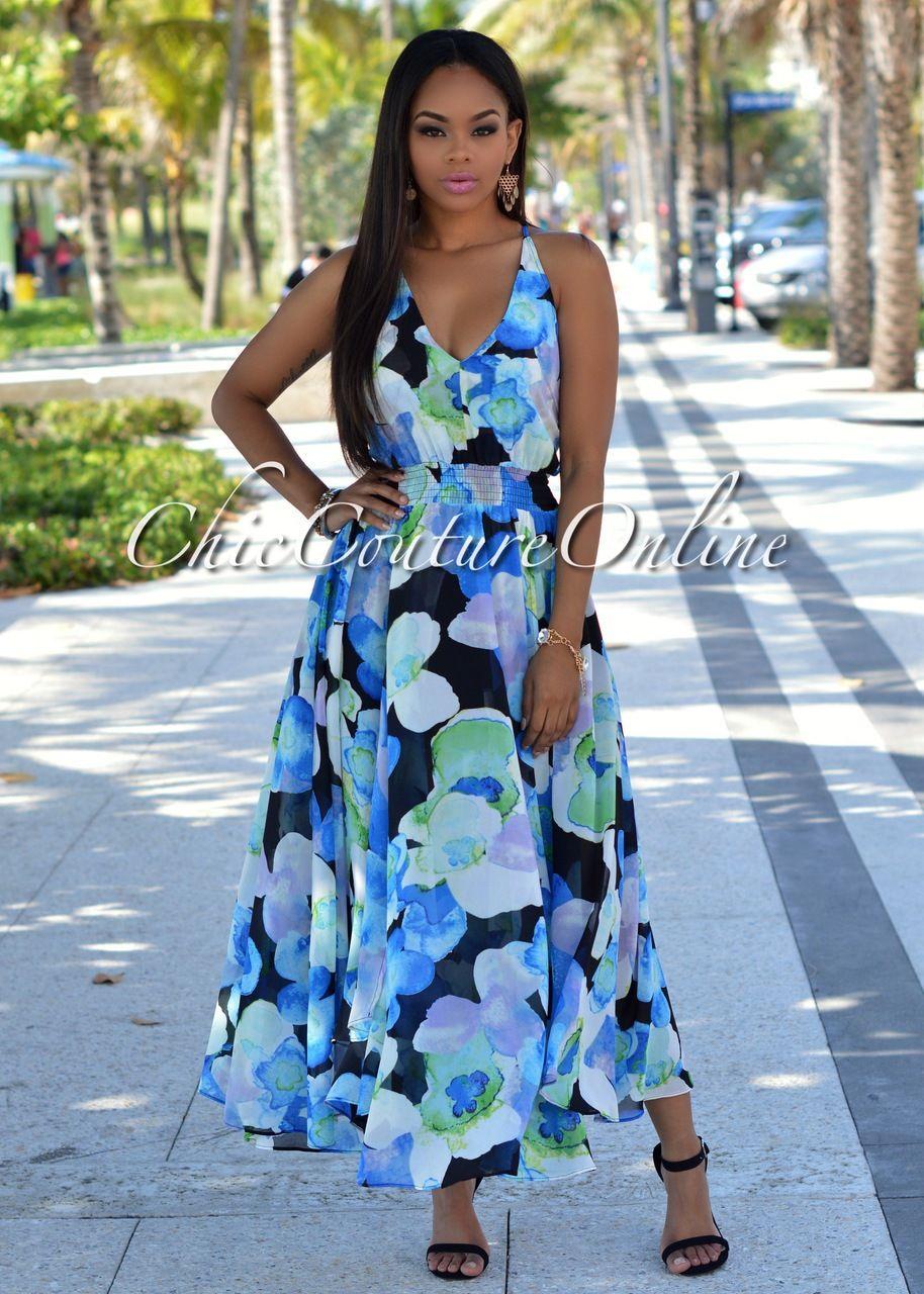 Bayside Blue Black Multi-Color Floral Print Paneled Dress | Panel ...