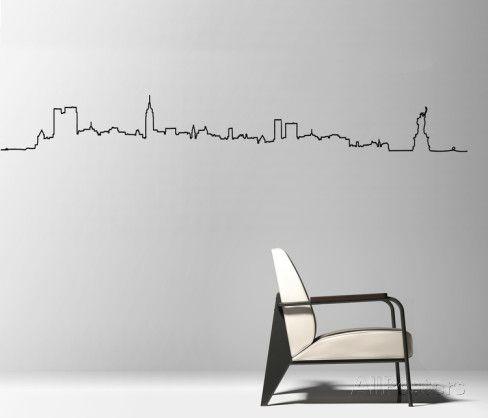 Adhesivo de pared del perfil de la ciudad de nueva york for Stickers pared baratos