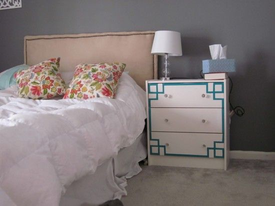 Painted fretwork detail added to an Ikea Rast dresser.