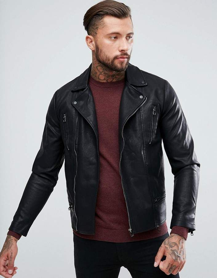 New Look Biker Jacket With Zip Detailing In Black Mens Outfits Leather Jacket Outfit Men New Look Leather Jacket