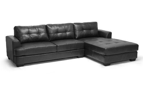Baxton Studio Dobson Leather Modern Sectional Sofa Black See This Great Product Note Modern Leather Sectional Modern Sofa Sectional Leather Sectional Sofas