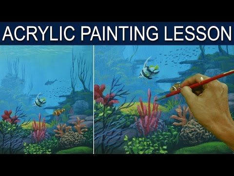 Ocean Coral Reef Acrylic Painting Tutorial Live Beginner Lesson How To Paint Underwater Sea Li Coral Painting Underwater Painting Landscape Painting Tutorial