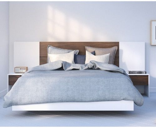 Nexera Celebri T Plank Effect Platform Bed With Headboard Extension