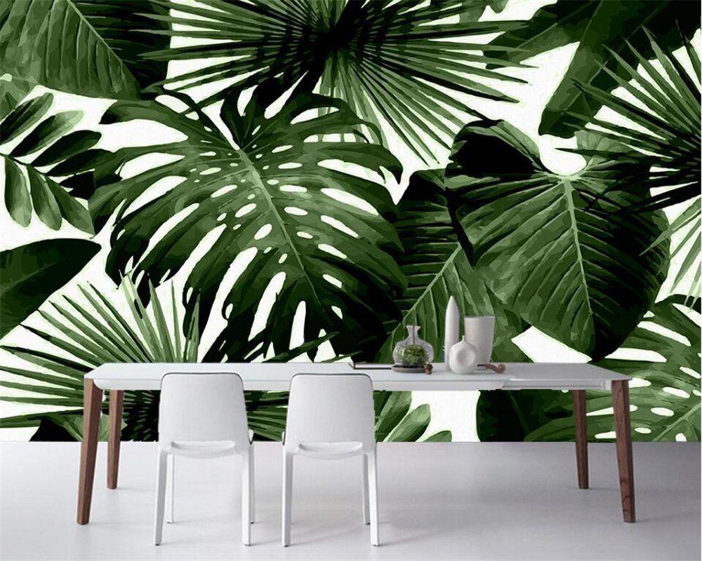 Lqwx Modern Custom 3D Wallpaper Tropical Rain Forest Palm