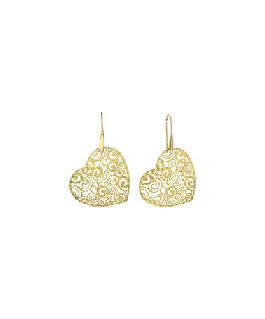 Another great find on #zulily! Gold Concave Rose-Etched Heart Earrings…