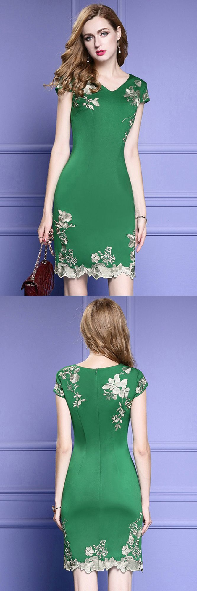 Cocktail dresses wedding  Green Bodycon Cocktail Dress For Wedding Guest With Cap Sleeves