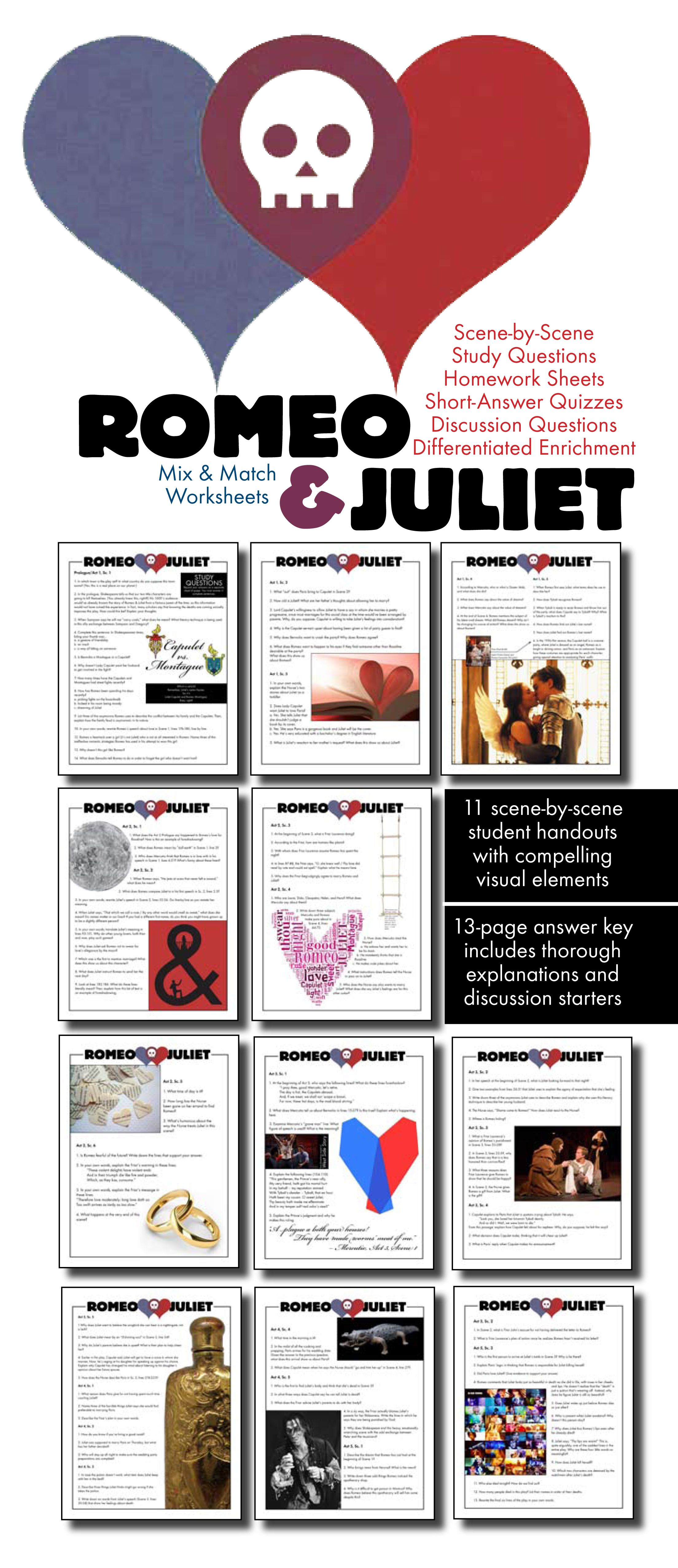 Romeo Amp Juliet Worksheets Quizzes Homework Discussion For Shakespeare S Play