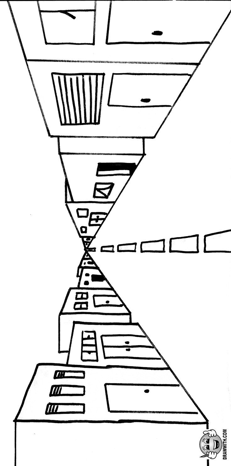 Free 1 Point Perspective Road With Buildings Coloring Pages For Kids Which Includes A Color Along V 1 Point Perspective One Point Perspective Point Perspective