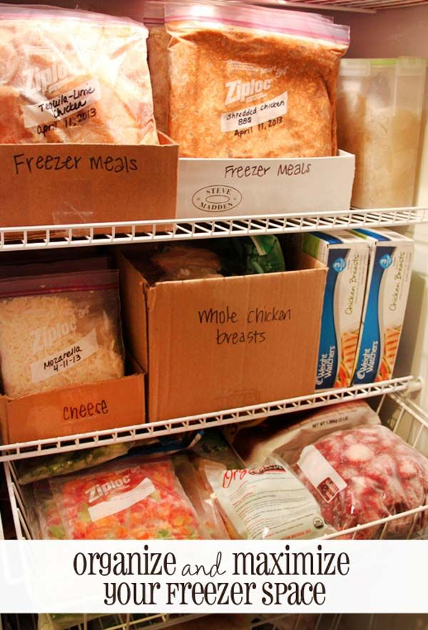 #10. Shoe boxes become great food organizer in your freezer. | Home Storage Ideas