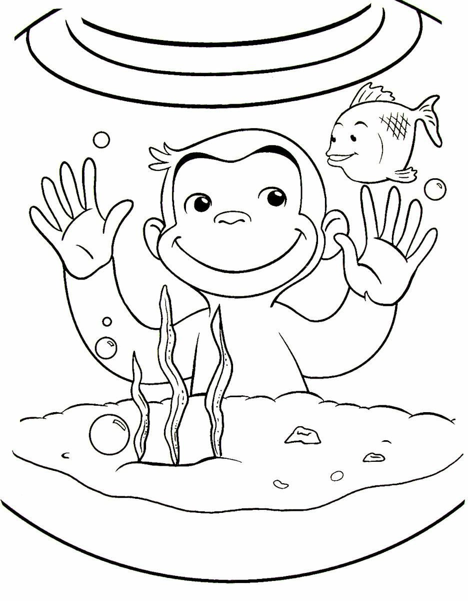Curious George Looking In The Goldfish Bowl Printable Coloring Book Page For Kids Curious George Coloring Pages Fall Coloring Pages Coloring Books