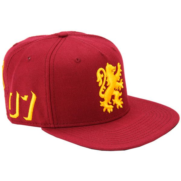 WB Harry Potter Gryffindor Varsity Snapback Hat ($18) ❤ liked on Polyvore featuring accessories, hats, multi, embroidered snapbacks, yellow hat, embroidered snapback hats, snap back hats and embroidery hats