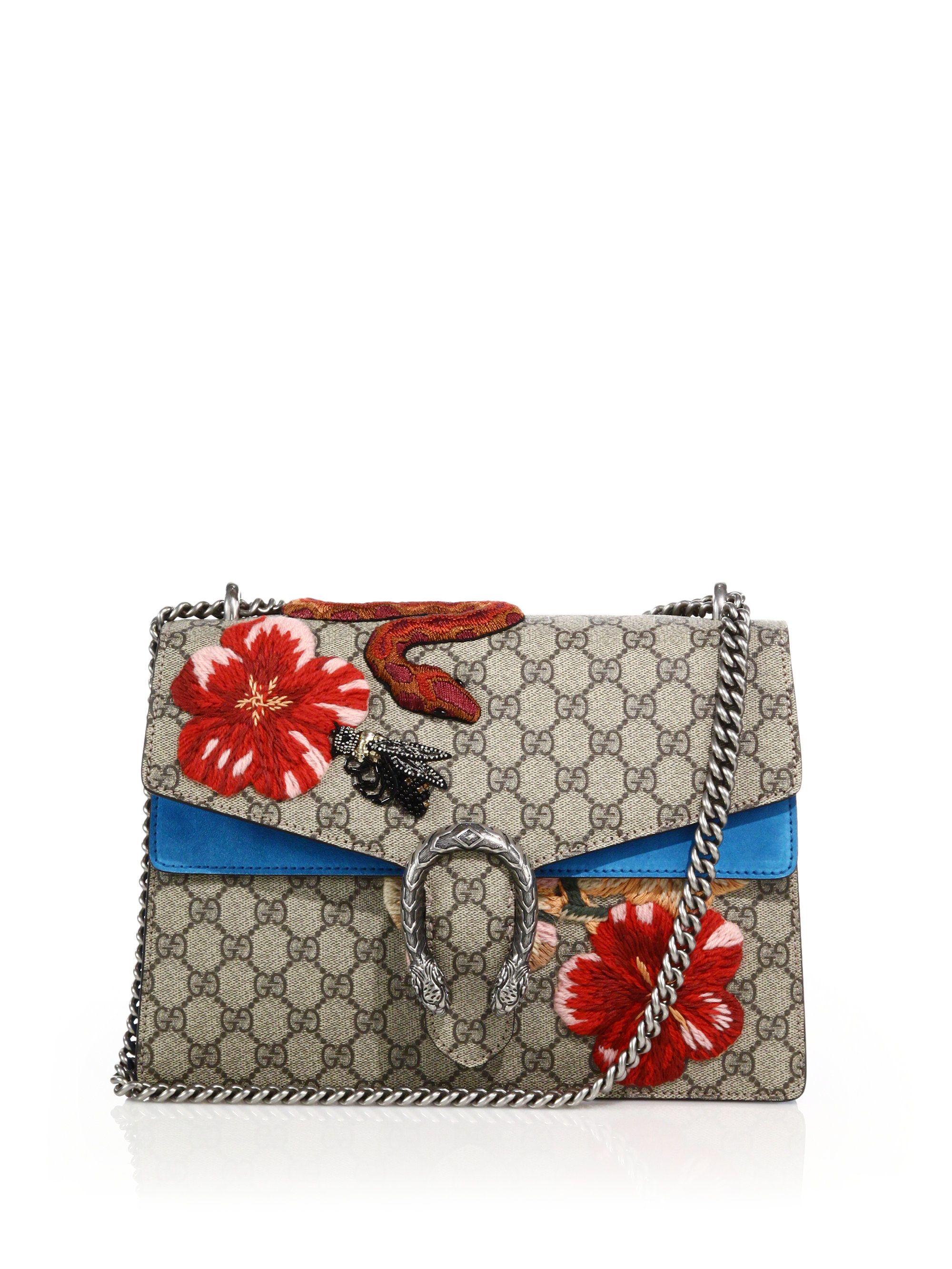 e7008c1047e Gucci Dionysus Gg Supreme Canvas Embroidered Shoulder Bag in Multicolor ( multi)