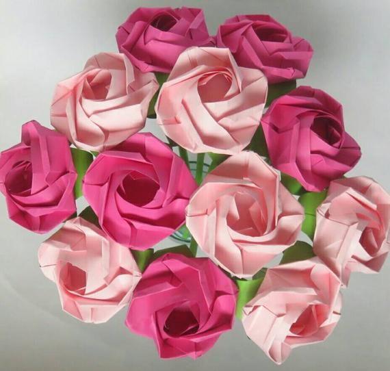 Photo of Pink Origami Rose Bouquet – Papierrosen in Baby Pink und Pink – Ich liebe dich