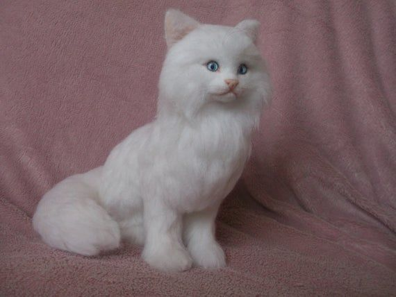 Needle felted cat, Cat felting, Cat white, White fluffy cat, collectible toy #needlefeltedcat Needle felted cat, Cat felting, Cat white, White fluffy cat, collectible toy #needlefeltedcat