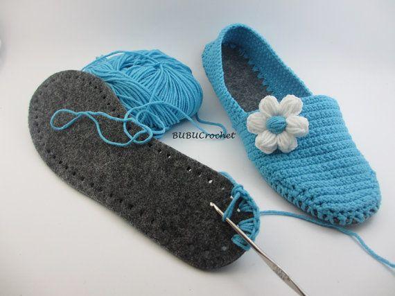 Sentía suelas para los zapatos de ganchillo para zapatillas de hoja de fieltro