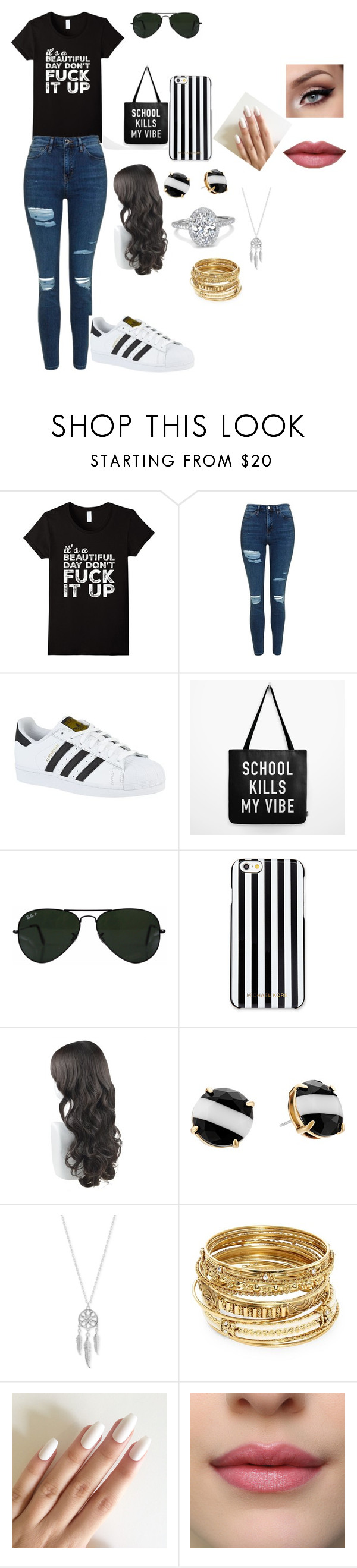 """""""just in a little hurry"""" by bettyboop2001 on Polyvore featuring Topshop, adidas, Ray-Ban, MICHAEL Michael Kors, Kate Spade, Lucky Brand and ABS by Allen Schwartz"""
