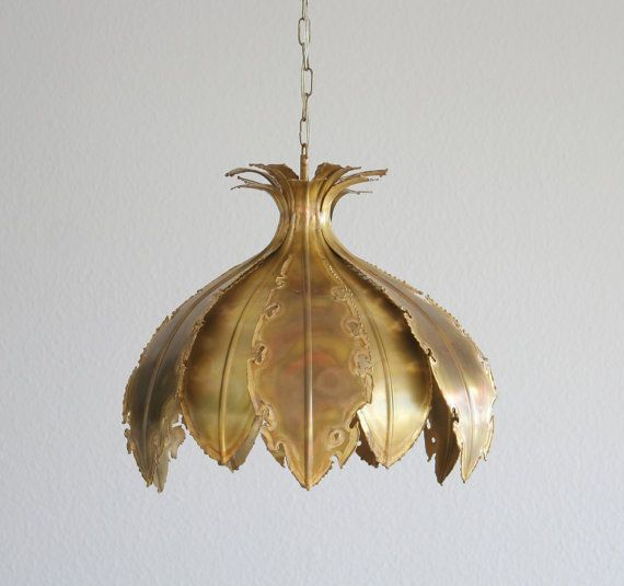 A Holm Sorensen brutalist large flower petal ceiling pendant lamp in oxidized…