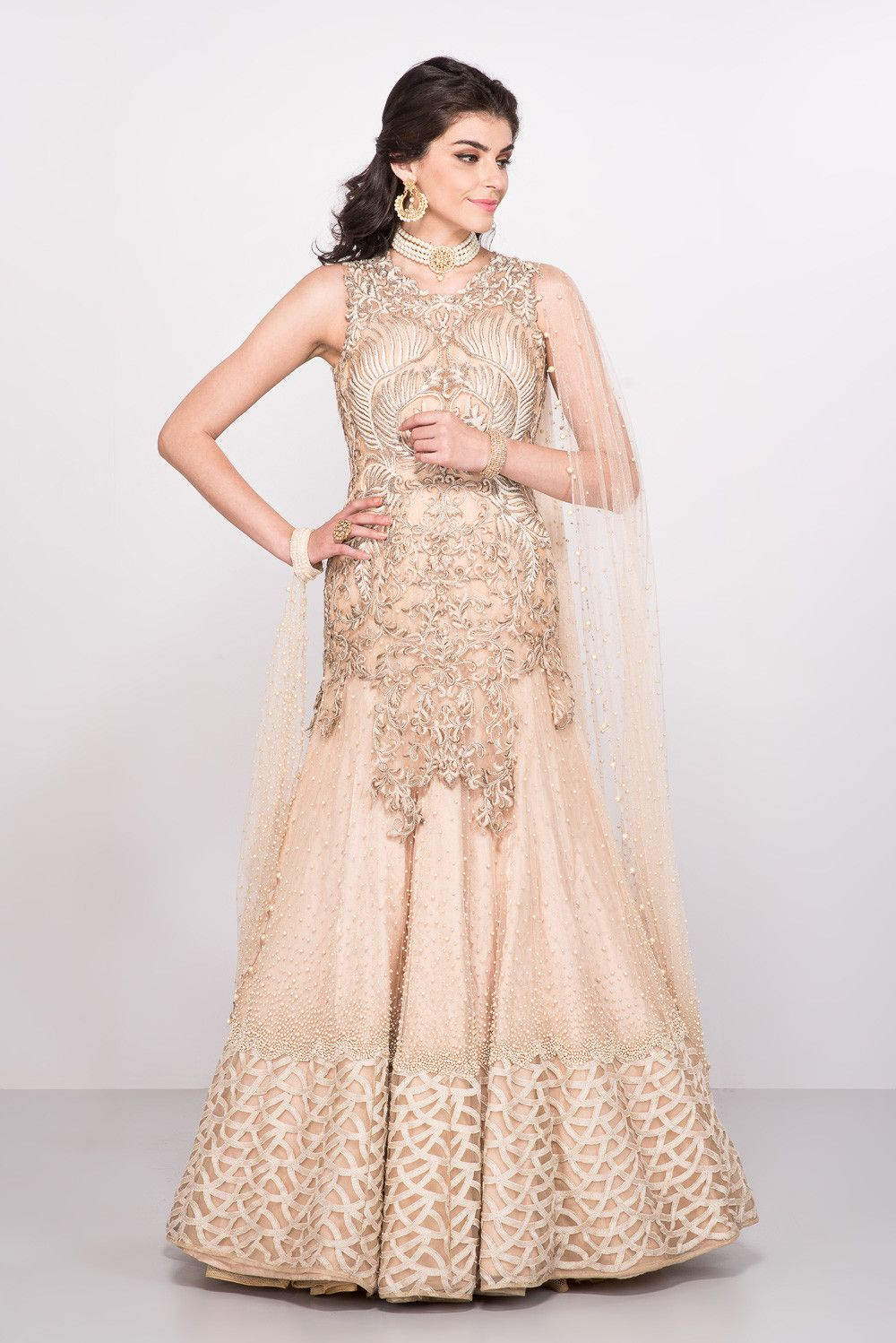 6e5a9500cc9ef KAMAALI COUTURE Peach Embroidered Evening Gown With Attached Drape ...