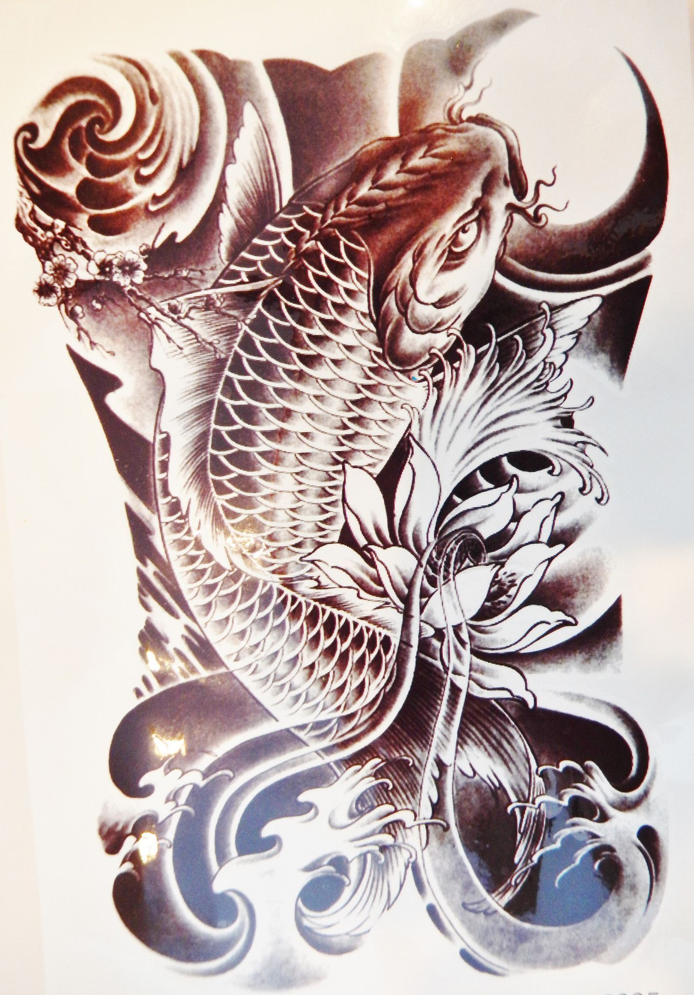 Large black koi fish temporary tattoo koi large black and tattoo