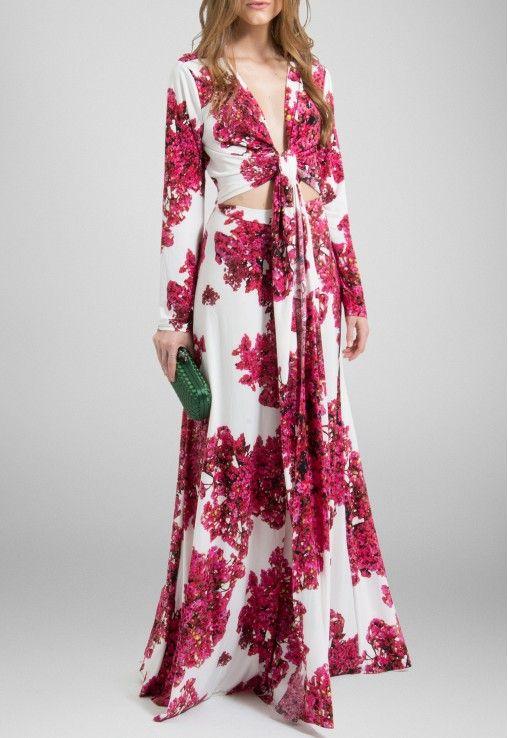 b0998da01 Vestido longo de malha floral rosa com fundo branco Powerlook - powerlook -V-MOB