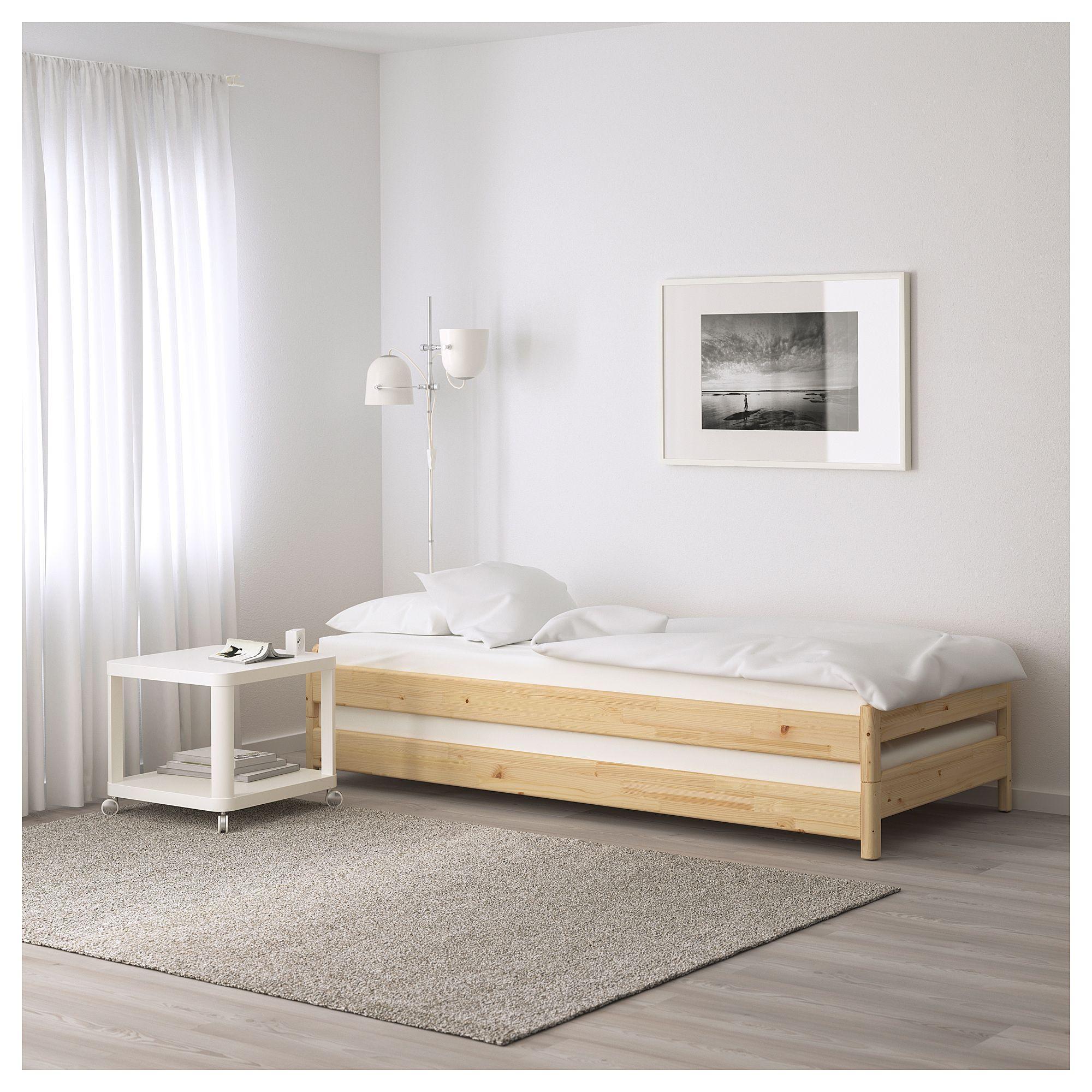 UTÅKER Stackable bed with 2 mattresses pine, Meistervik