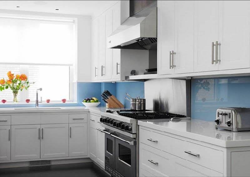 Superior Blue Kitchen Tiles Ideas Part - 12: Coastal Kitchen With Blue Glass Backsplash. White U0026 Blue Kitchen Design  With Crisp White Kitchen Cabinets With White Quartz Countertops And Blue  Backsplash.