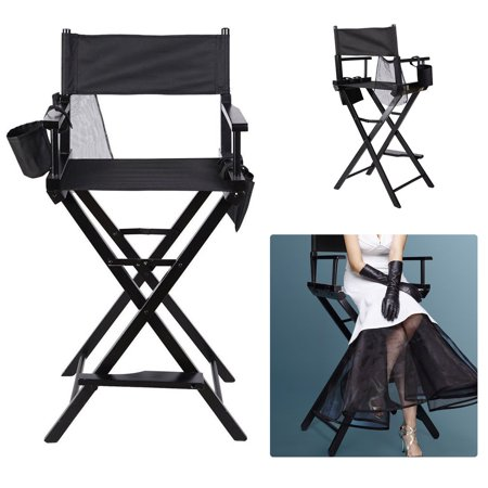 Foldable Makeup Director Chair Tall Artist Professional Directors Chair With Storage Bag Cup Holder Blac Storage Chair Directors Chair Folding Chair