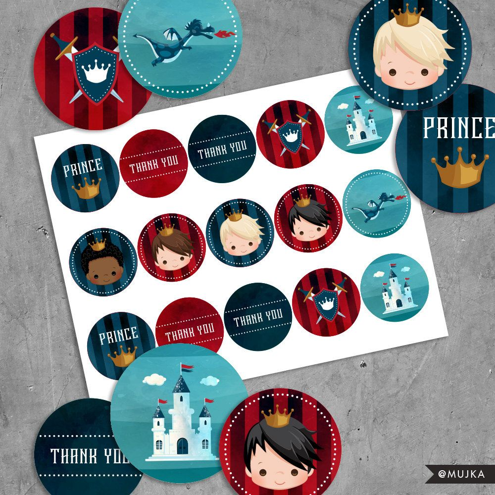 Printable Prince Birthday Stickers, Red & Blue prince cupcake ...