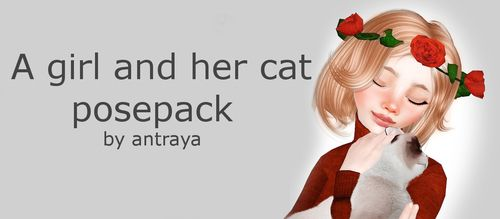 A girl and her cat posepack by antraya