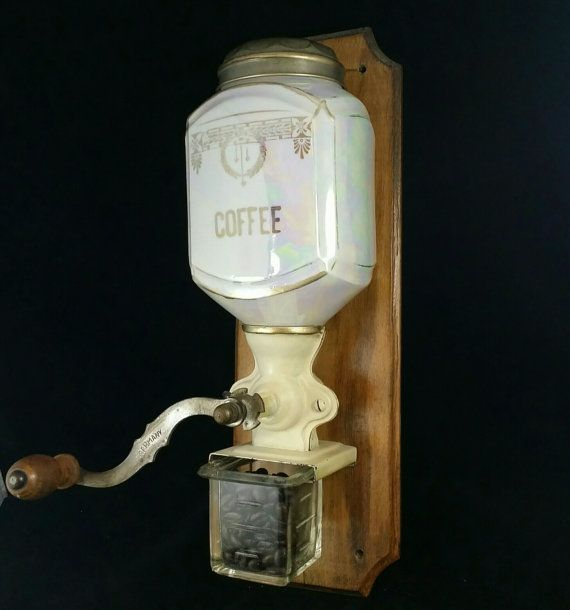 German Luster Ware Coffee Grinder Mill Cast Iron Wooden