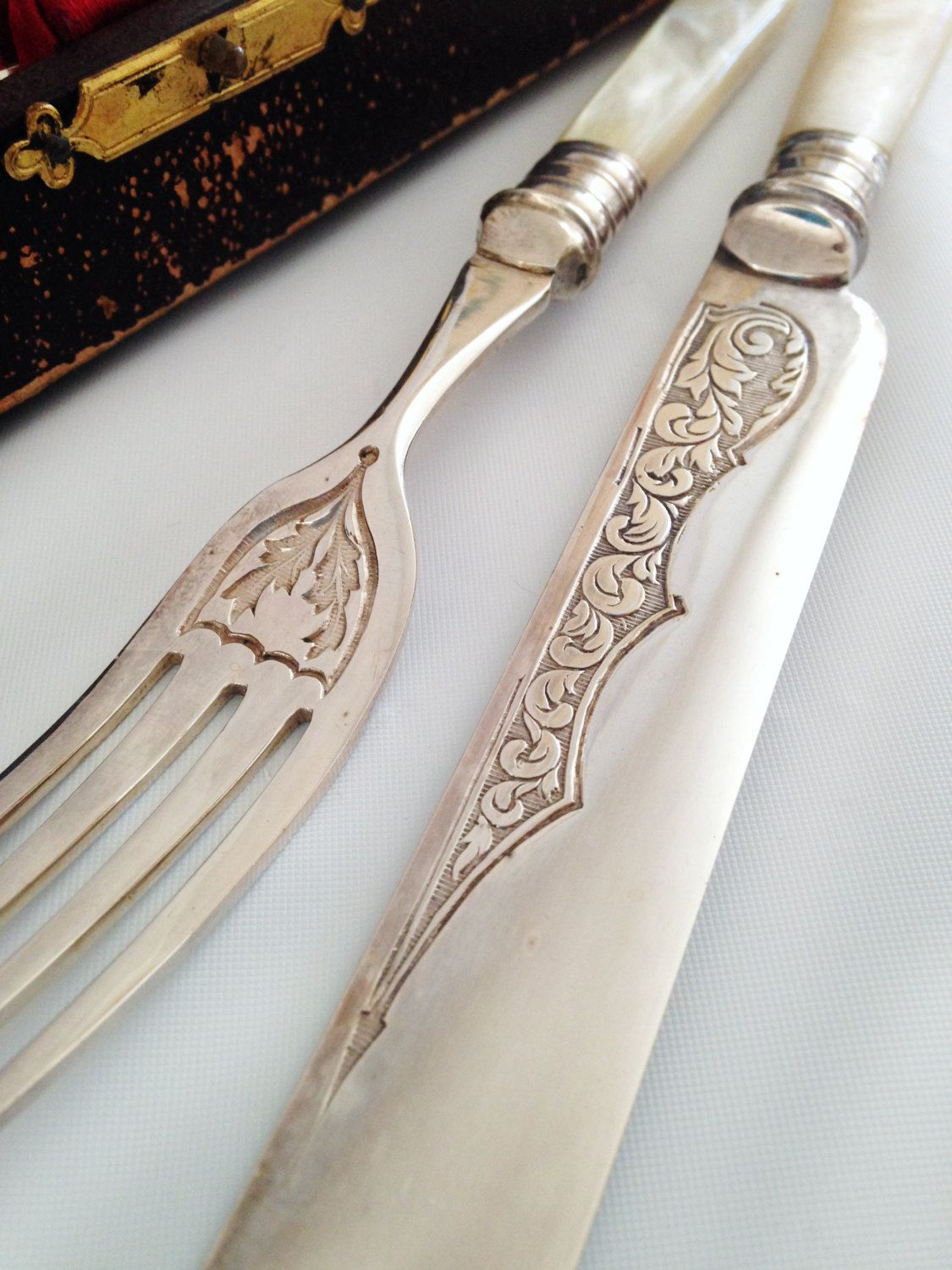 exquisite mother of pearl and silver knives and forks early exquisite mother of pearl and silver knives and forks early 1900 s original case english set of twelve great gift