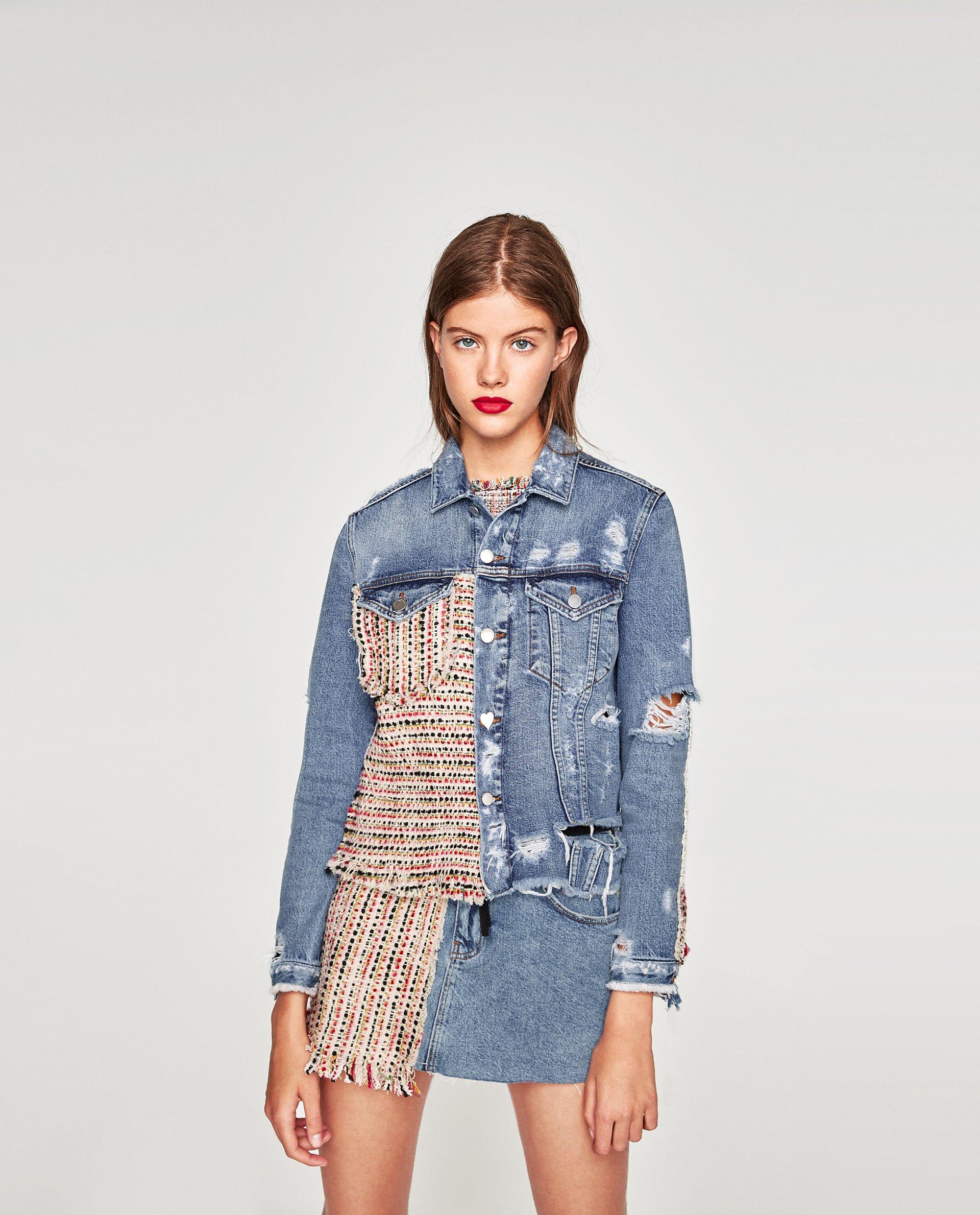 57c557ac Image 2 of DENIM JACKET WITH TWEED from Zara | high fashion | Denim ...