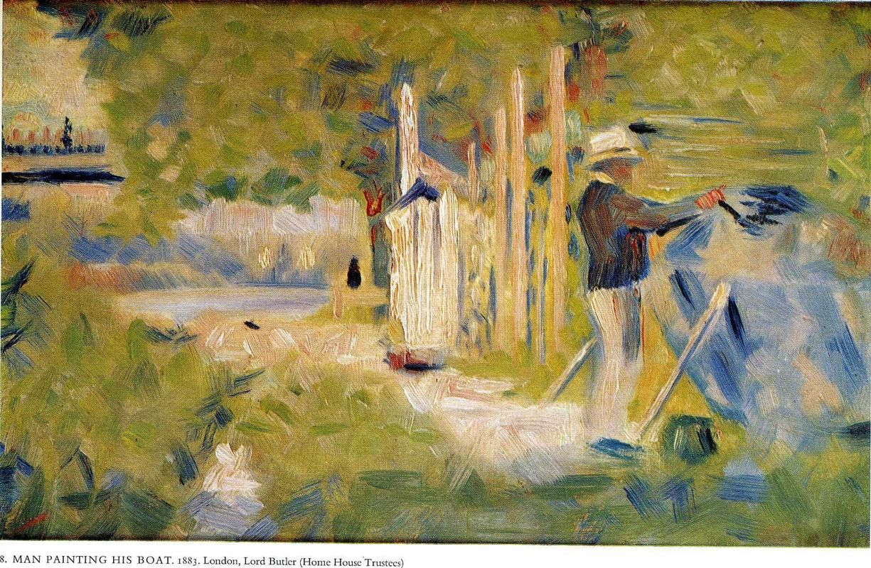 George Seurat (French, 1859-1891) - Man Painting his Boat, 1883