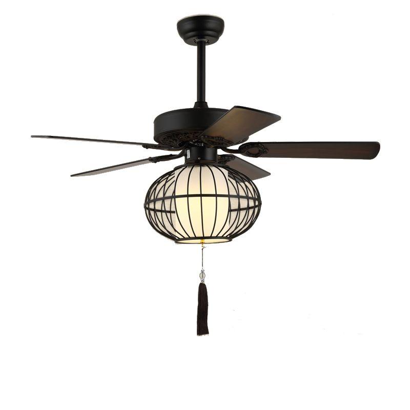 Suspension Ventilateur En Fer Style Retro Lanterne Pour Chambre