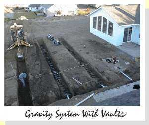 This high view of the septic system under construction uses