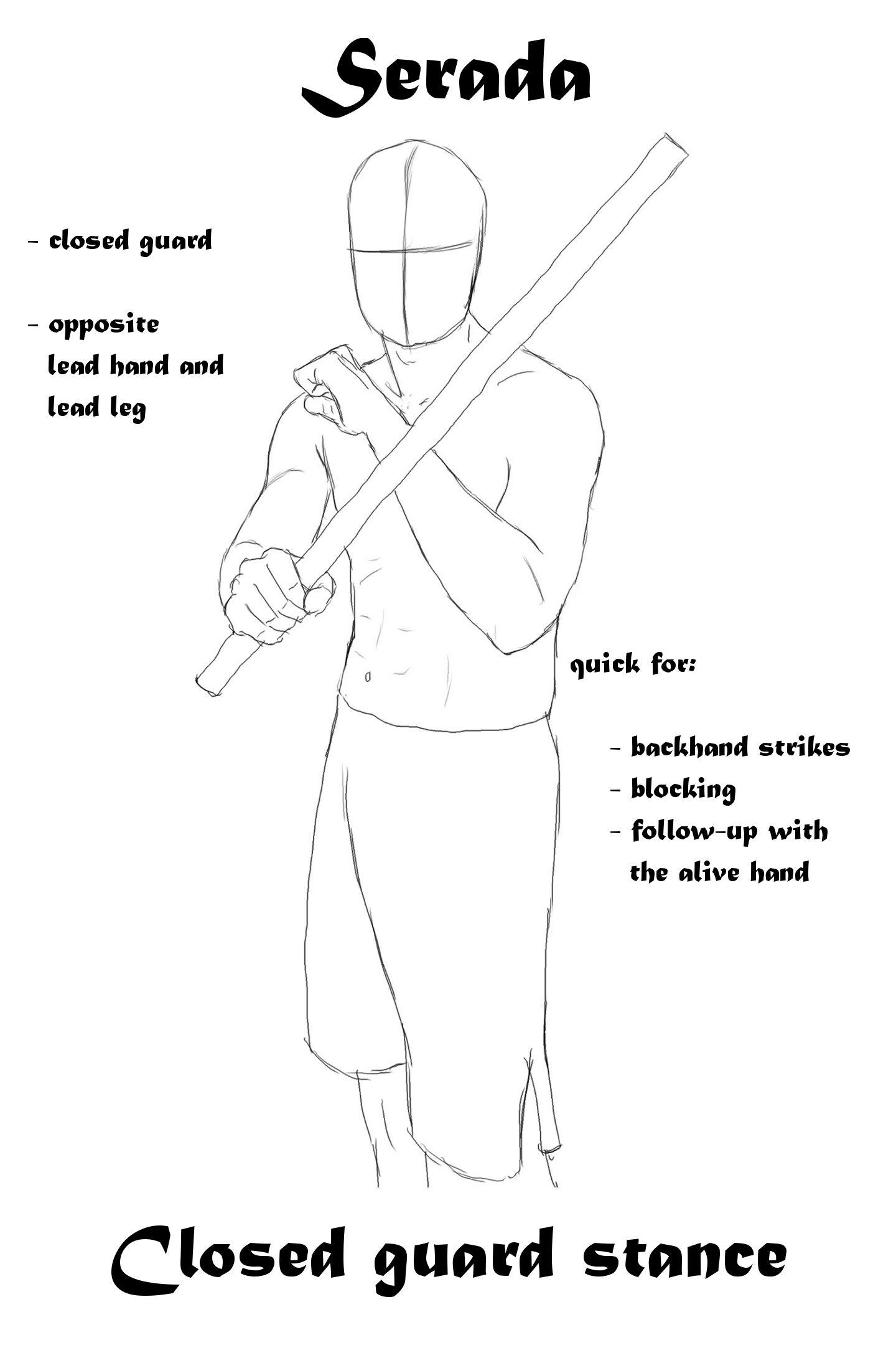 Serada Closed Guard Stance For Escrima Stick Fighting