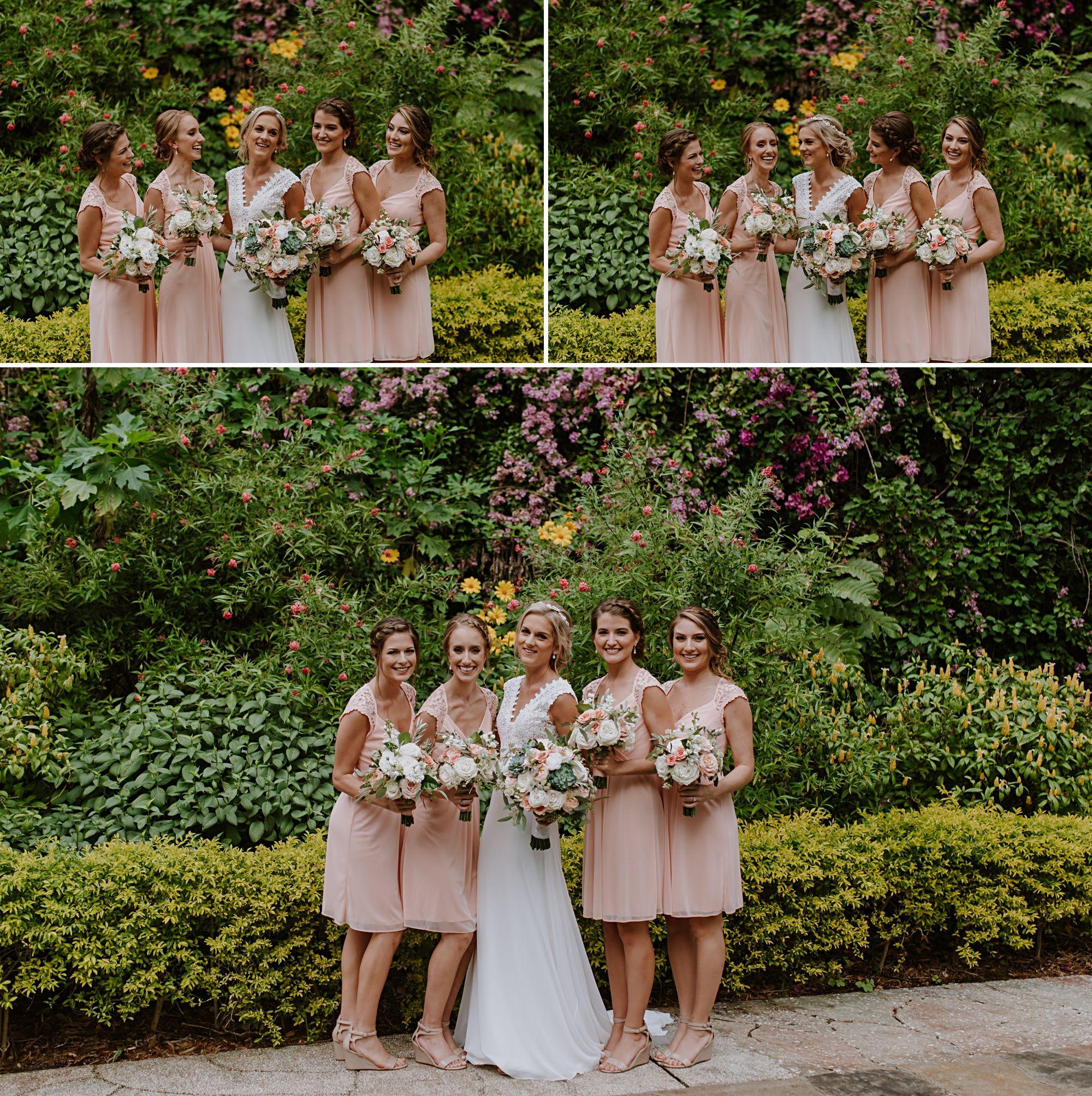 fun bridesmaid photos at Sunken Gardens St. Pete, FL