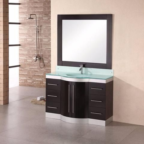 "Design Element 48"" Jade Single Sink Vanity Set With Glass Top Simple Design Element Bathroom Vanity Design Ideas"