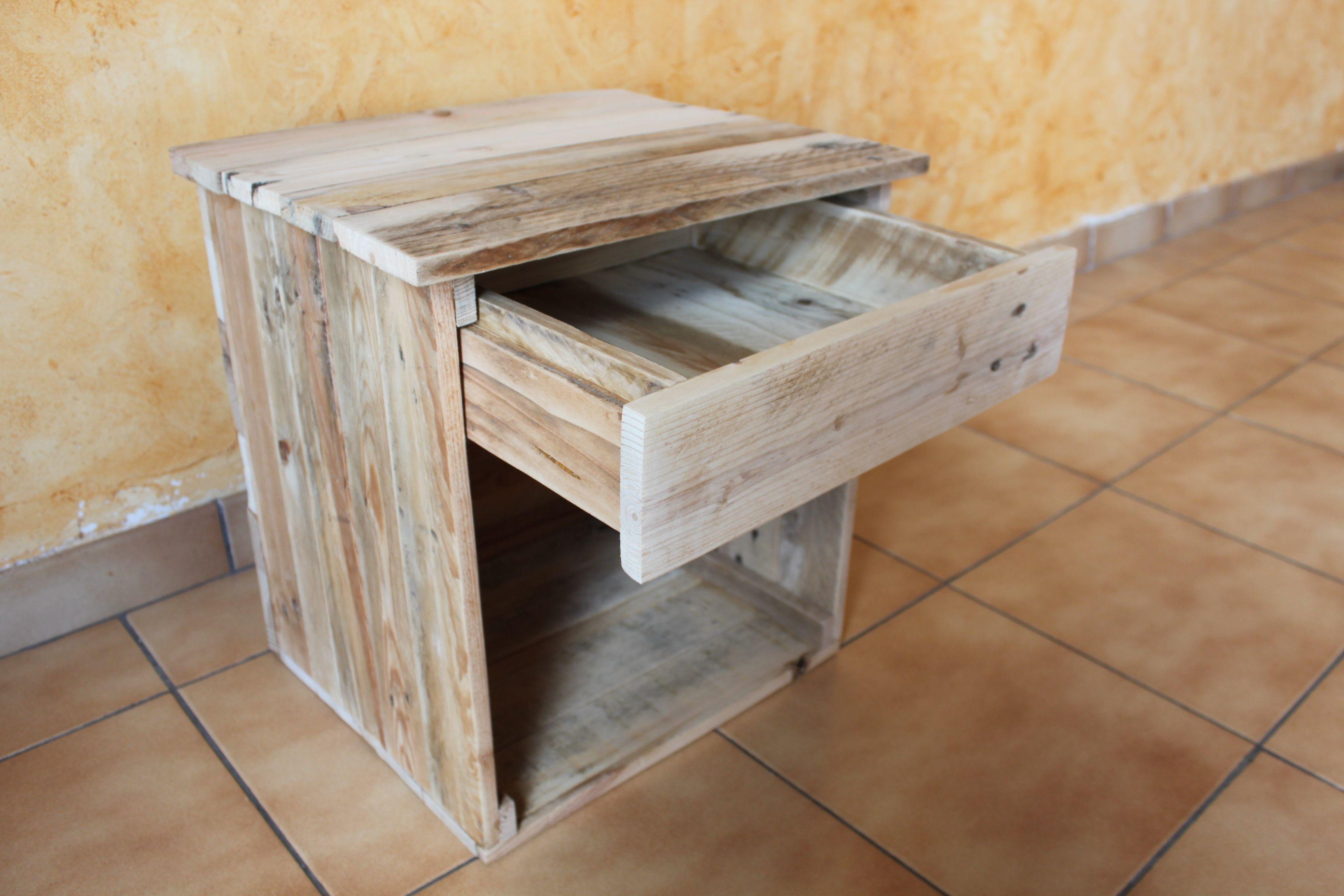 table de chevet en bois de palettes et colle bois c 39 est. Black Bedroom Furniture Sets. Home Design Ideas