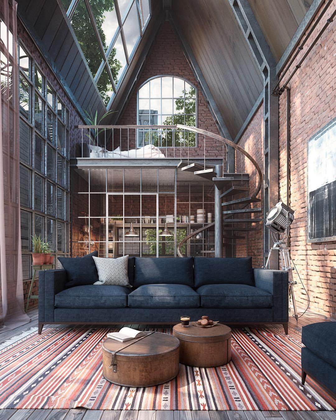 Interior Design On Instagram Industrial Loft Designed By Daniela Bringas Loft Industrialdesign Living Livingr Industrial House Loft Design House Design