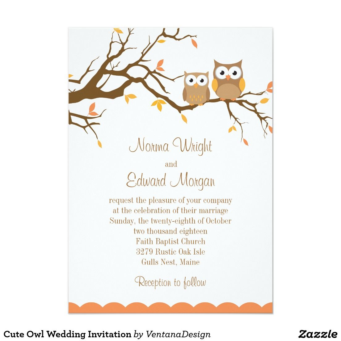 Cute Owl Wedding Invitation  Zazzle.com  Owl wedding, Wedding
