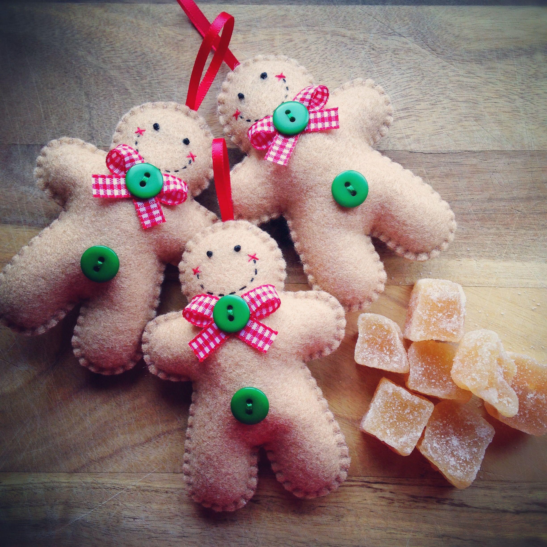 Hand Stitched Felt Gingerbread Man Christmas Ornaments