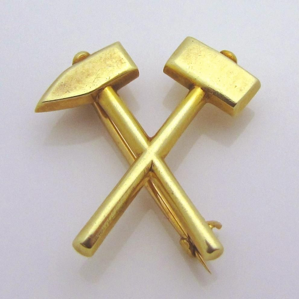 2093a32dd Rare Antique Tiffany and Co. Makers 14K Gold Hammer and Pick Mining from  charmalier on Ruby Lane
