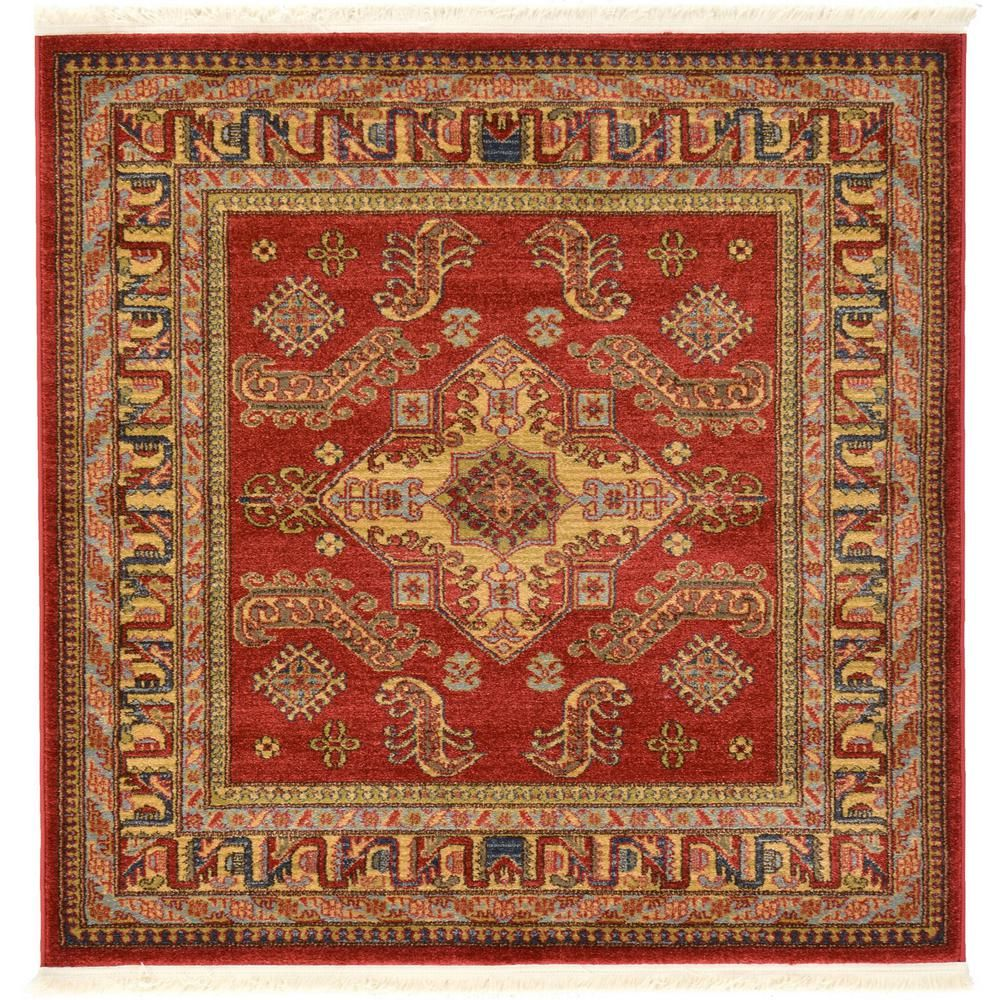 Unique Loom Sahand Philip Red 10 0 X 13 0 Area Rug 3117897 The Home Depot Geometric Area Rug Square Area Rugs Area Rugs