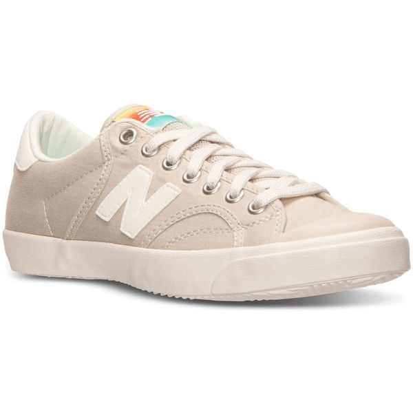 New Balance Women's Pro Court Cruisin' Casual Sneakers from Finish... ($55) ❤ liked on Polyvore featuring shoes, sneakers, new balance sneakers, low profile shoes, new balance footwear, vintage tennis shoes and low profile sneakers